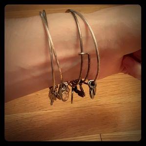 Silver Alex and Ani bracelet set